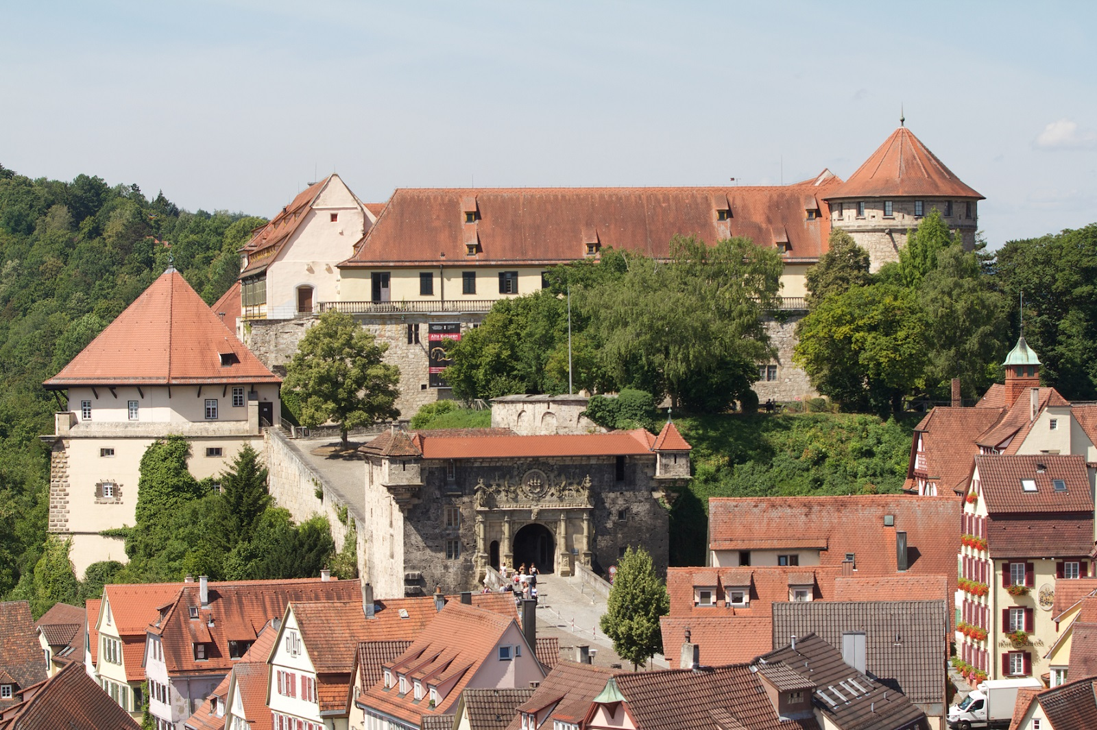 Hohentübingen Castle, the roofs of the old town in the foreground