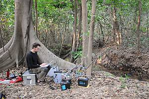 Hearing whispers - Jörg Henninger measures the electrical signals of the knifefish using an electrode lattice in a stream in Panama. Photo: Jan Benda
