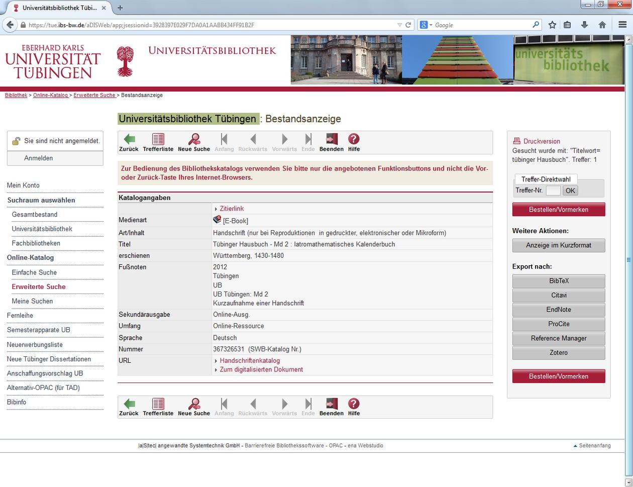 Vorlesungsverzeichnis Uni Tübingen