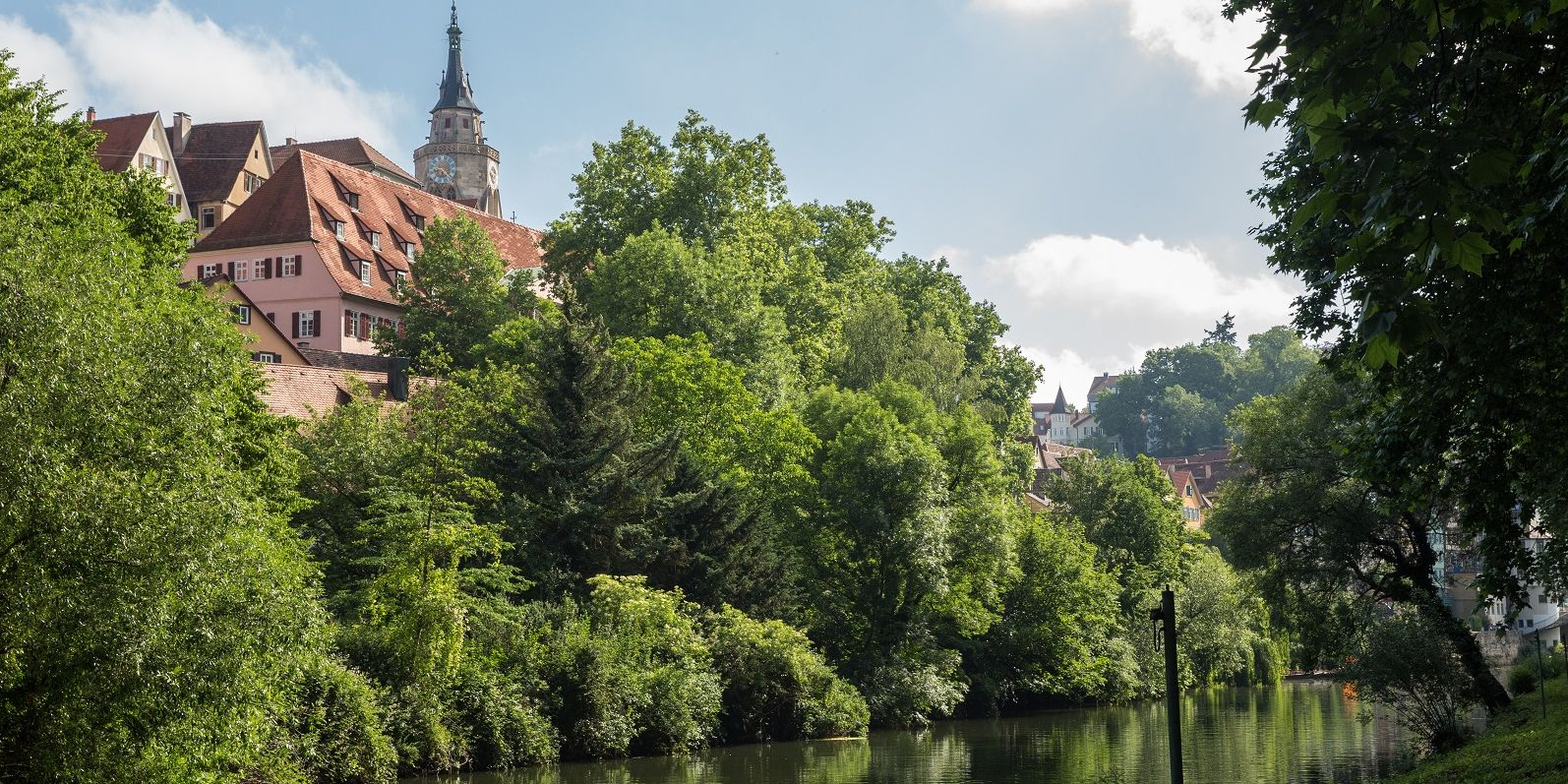 View to the Neckar river with the Stiftskirche church in the background
